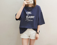 casual Sweet simple letter t shirt print round neck short sleeves TS888