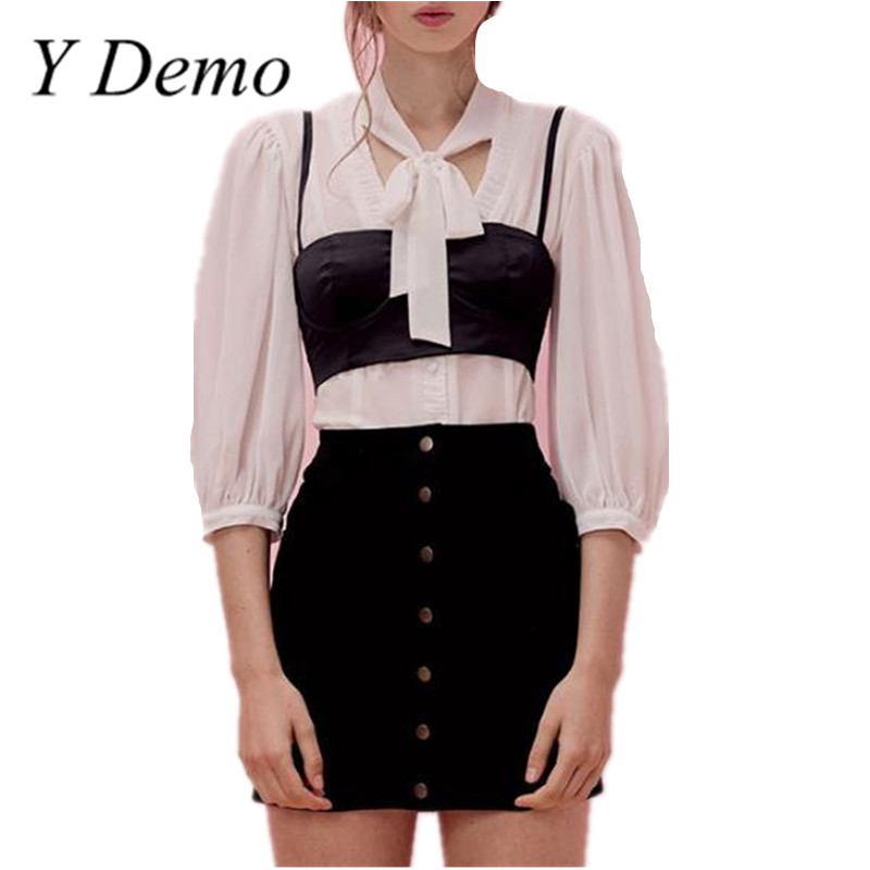 Y Demo Fashion Button Puff Sleeve Shirt White Bow Tie Summer Women White Shirts