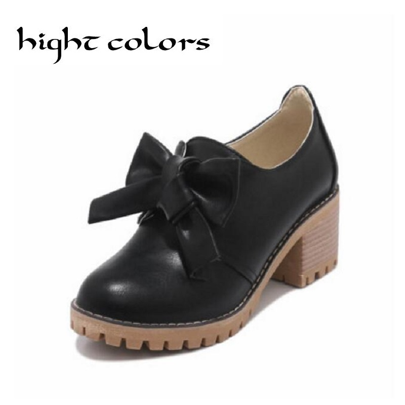 NEW Spring Platform Bullock Student Shoes Woman Thick Heels Oxford Shoes For Women Creepers Casual Shoes High Heel Pumps 2018 spring new design women shoes high heels thick soled platform shoes lace up bullock style mid heel big size sweet girls