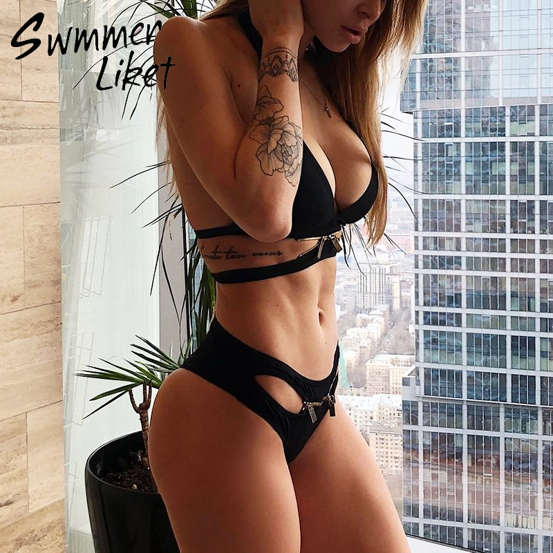 Swimming Sexy Black Bathing Suit Deep V Push Up Swimsuit Zipper Bikini Set Bandage Swimwear Women 2018 Bathers Micro Bikini New Two-piece