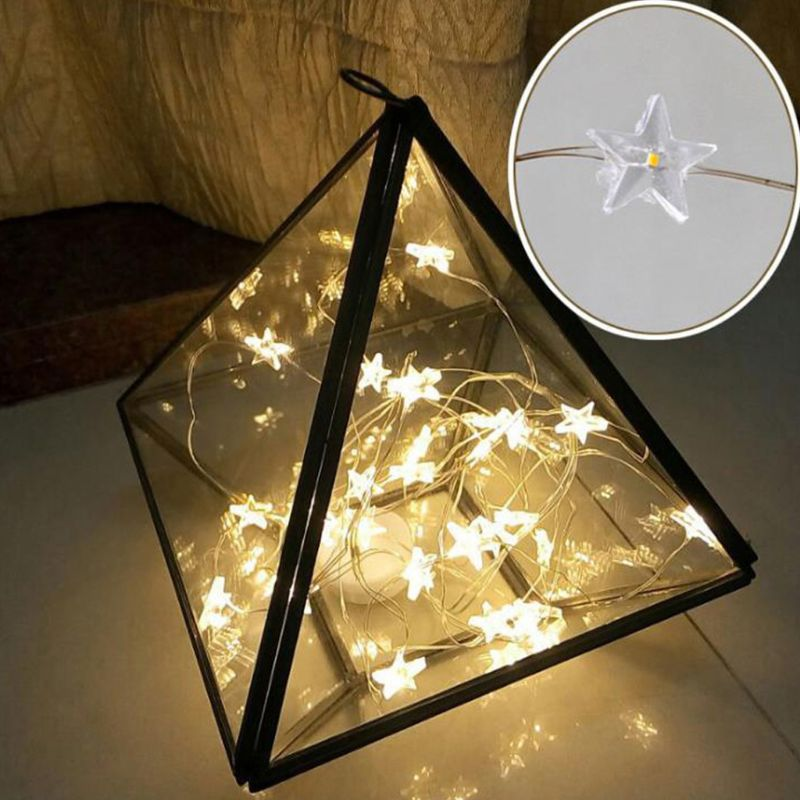 2m 20 Leds Star Shaped String Lights Battery Operated Christmas Tree Decoration Party Home Bedroom Fairy Romantic Lamps 3 Colors A656
