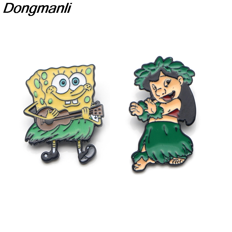 P3465 Dongmanli Anime and Lilo Funny hula Metal Enamel Pins and Brooches  for Women Lapel Pin Backpack Bags Badge Kids Gifts
