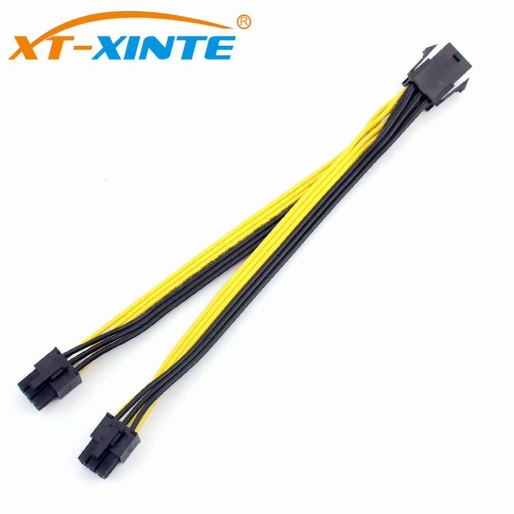 20CM PCIe PCIE 6pin Male to Dual 6pin Male Power Cable Splitter PCI-Express Video Card Adapter Cable Cord 18AWG for Mining Miner pci e pcie pci express 6pin male to dual double 2 port 6pin male adapter gpu video card power cable 18awg f21516