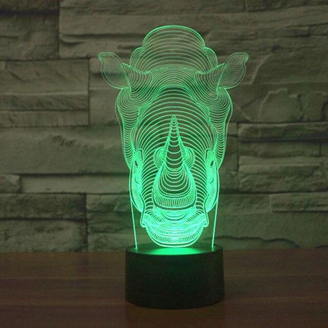 3D Illusion Night Light Rhinoceros Shape LED Desk Lamp Micro USB Night Light Animal 3D Mood Table Lamp Bulbing Light As Gift