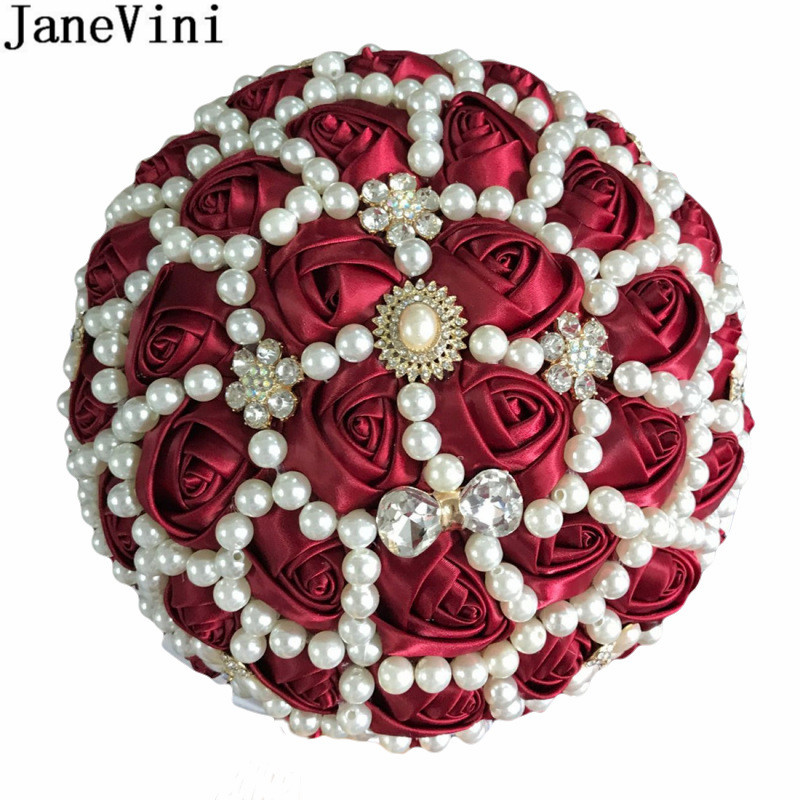 JaneVini Luxury Flores Burgundy Bridal Pearl Wedding Bouquets Beaded Satin Rose Ribbon Artificial Bride Bouquet Flower Custom