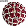 JaneVini Luxus Flores Burgund Braut Perle Hochzeit Bouquets Perlen Satin Rose Band Künstliche Braut Bouquet Blume Benutzerdefinierte|Brautsträuße|Hochzeiten und feierliche Anlässe -