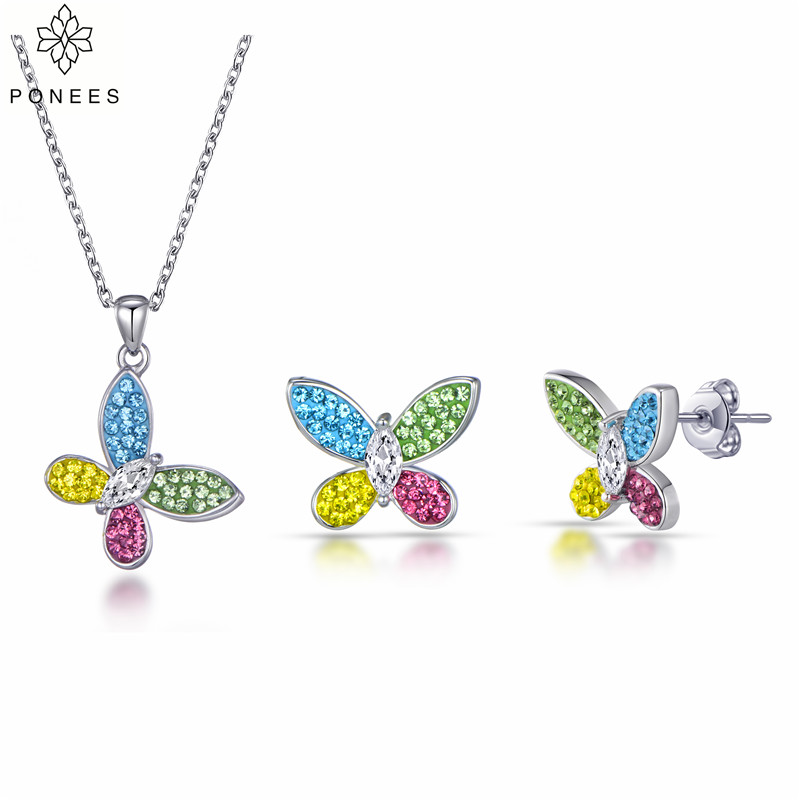PONEES New Fashion Popular Colorful Crystals Butterfly Bridal Jewelry Sets For Women Girls Party Gift Necklace Earrings Sets
