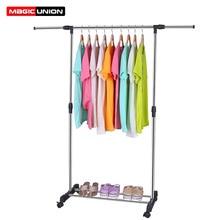 União mágica única haste estendida rack de secagem piso aço inoxidável secagem pendurado roupas rack telescópica quarto varanda cabide