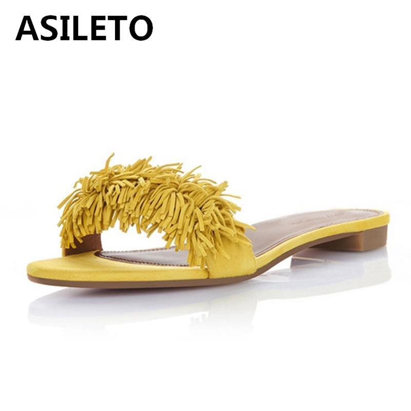 Sandale Appartements Sandalias Asileto T071 Pantoufle De Marque Sandales Fringe Gland Pantoufles yellow 2018 Chaussures Femmes D'été Chaussure Black Diapositives Zx00rqYFw