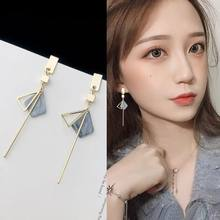 2018 Simple Temperament Geometry Drop Earrings Hollow Triangle Alloy Strip Dangle Pendientes Earrings For Women Brincos(China)