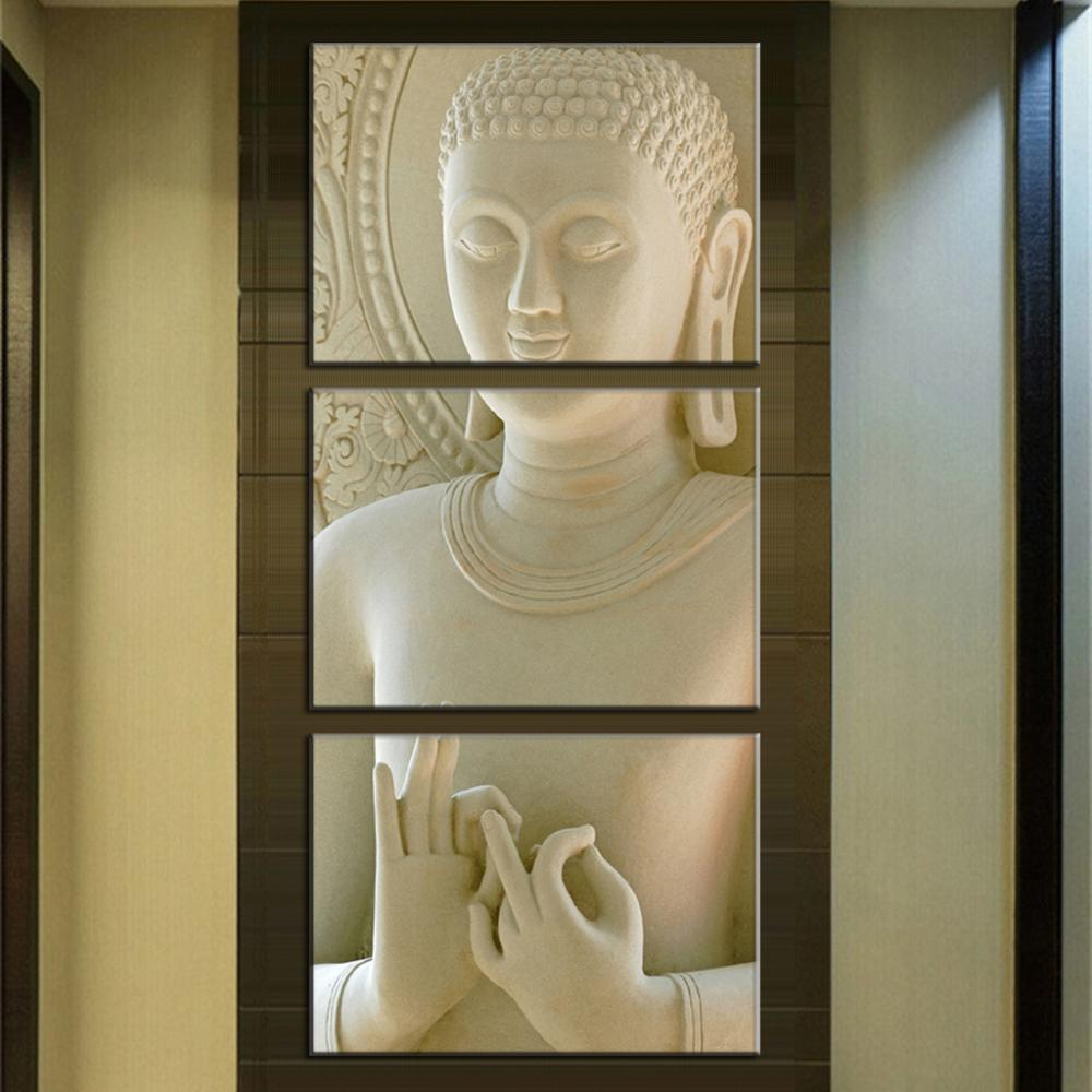 2015 Modern Buddha Painting 3 Picture Home Decoration White Marble Buddha Statues Art Canvas Tableau Decoration