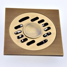 цена на Shower Drains 10*10cm Square Bath Drains Strainer Hair Antique Brass Carved Bathroom Floor Drain Waste Grate Drain zhr084