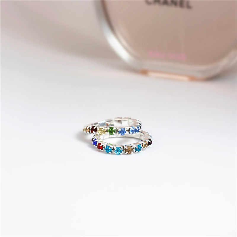 Rainbow Cincin Resizable Cincin Elastis 925 Stering Perak CZ Kristal toe cincin 3mm