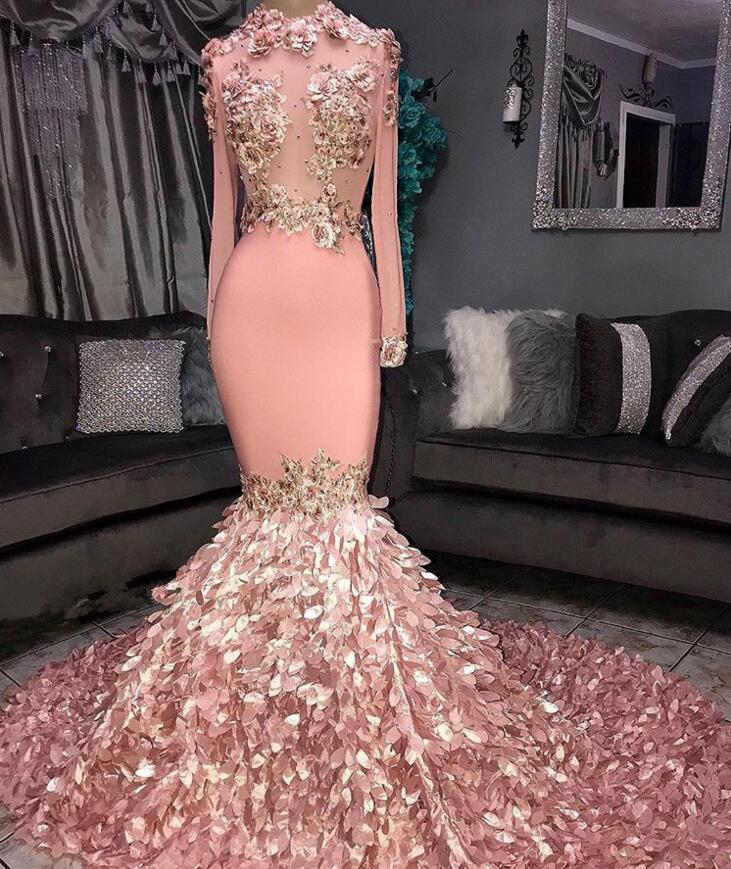 2019 Custom Made Pink Long Sleeve  Prom Dresses Sexy Lace Applique High Jewel Neck Elegant Evening Dress