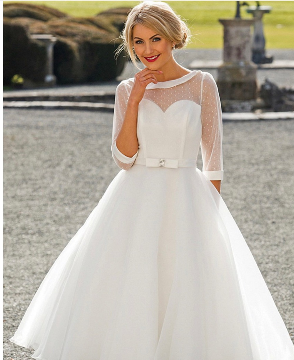 Romantic Half Sleeve Organza Wedding Dresses Tea Length 1905 s Vintage Retro Dotted Short Bridal Gown