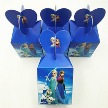 6pcsset Anna And Elsa Princess Paper Candy Box Cartoon Happy Birthday Party Decoration Theme Party Supplies Kids Girl Blue
