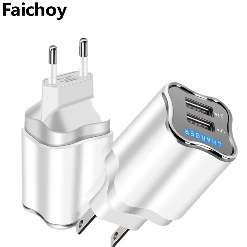 Good 5V/2.1A LED 2 Ports USB Charger EU/US Plug Charging Travel Wall Mobile Phone Charger USB Cable For iphone 5 6 7 8 Plus ipad
