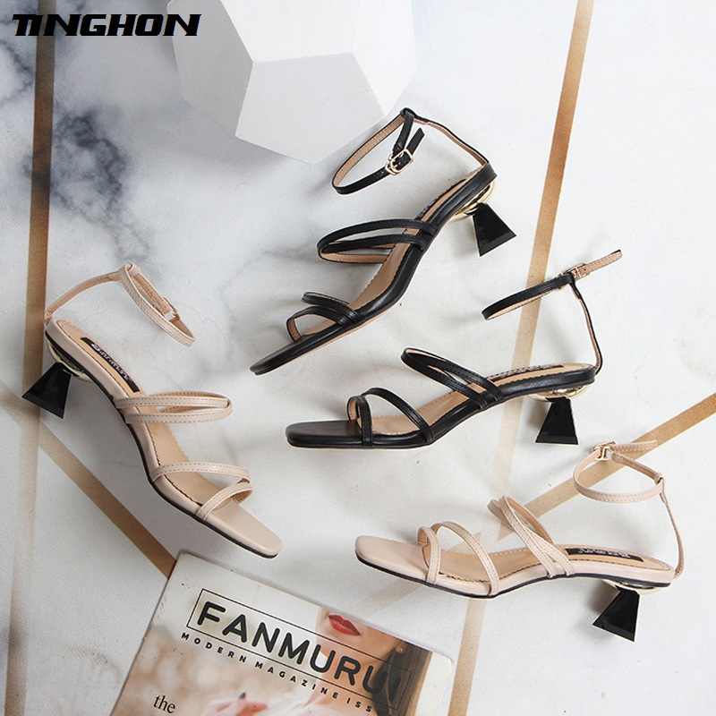 TINGHON Wild word with thick sandals female summer 2019 new fairy open toe straps holiday Roman shoes
