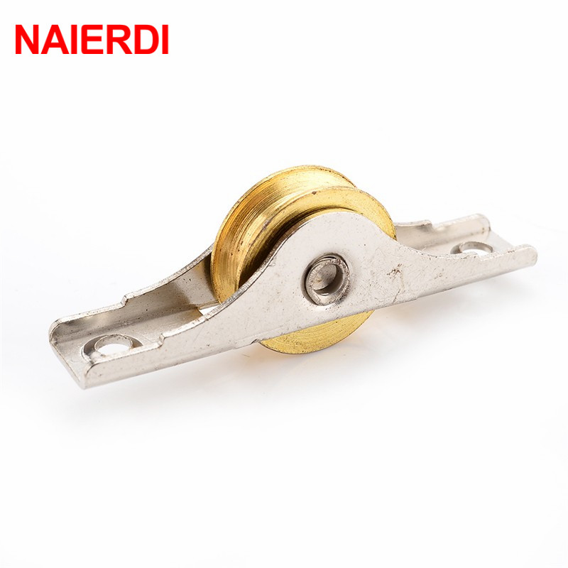 NAIERDI 2PCS Sliding Door Roller Cabinet Copper Caster Wheel Pulley For Wardrobe Window Furniture Hardware in Door Rollers from Home Improvement