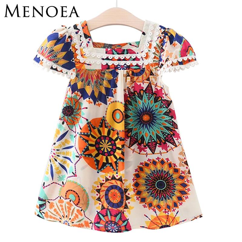Menoea Girls font b Dress b font 2017 Brand New Summer Style Girls Clothes Sleeveless Sunflower