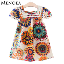 Menoea Girls Dress 2017 Brand New Summer Style Girls Clothes Sleeveless Sunflower Print Design Dresses Children Clothes 2-7 Y
