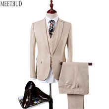 MEETBUD New brand men suit for wedding slim fit party host prom man rice white blue suits business casual dress suits 3 pieces