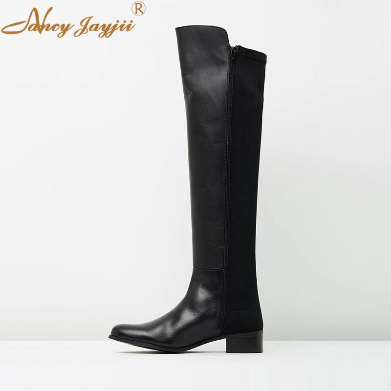 Nancyjayjii Rond Adulte Genou Noir Ty02 Femmes Dames Bottes 2019 Chaussures Carré Mature Solide Talon Bout haute Loisirs Zipper Mode srthQCdx