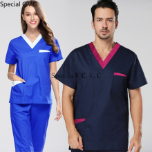 Men's Color Blocking Scrubs Set ( Short Sleeve Top + Elastic Waistline Pants) Doctor Nurse Workwear Pure Cotton Medical Uniform