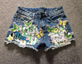 2016 summer moben shorts embroidery butterfly applique paillette tight denim shorts