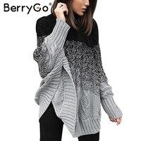 BerryGo Bat Sleeve Knitting Pullover Femal Streetwear Knitted Sweater Women Casual Autumn Winter Sweater Pullover Jumper