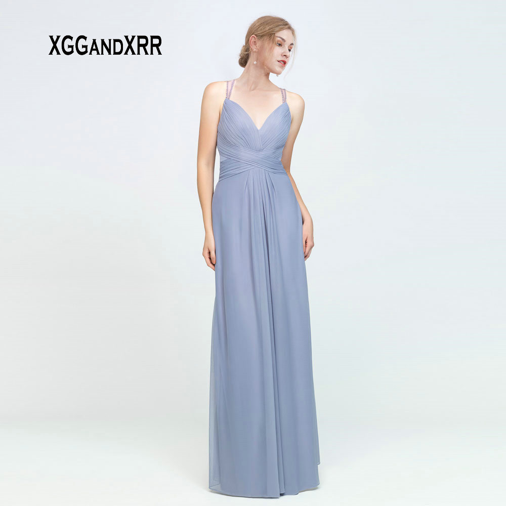 Elegant Blue A Line   Bridesmaid     Dress   2019 Sweetheart Spaghetti Sexy Backless Long Wedding Party   Dress   Bride Side   Dresses