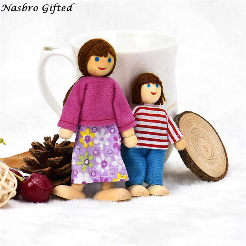 4 Dolls cute Cartoon Wooden House love Family People Kids Children Pretend Play Toy kids Gift brinquedos M5