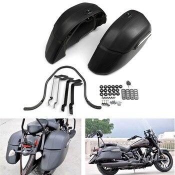 Areyourshop Motorcycle Universal Motorcycle Cruise Classic Side Bag Hard Black Locks Saddle Bags Motorbike Bags