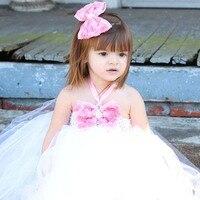 Prachtige Handgemaakte Tutu Jurk met Rozet Haar Clip Baby Meisjes Prinses Bruiloft Tutu Toga Kinderen Fluffy Tutu TS091