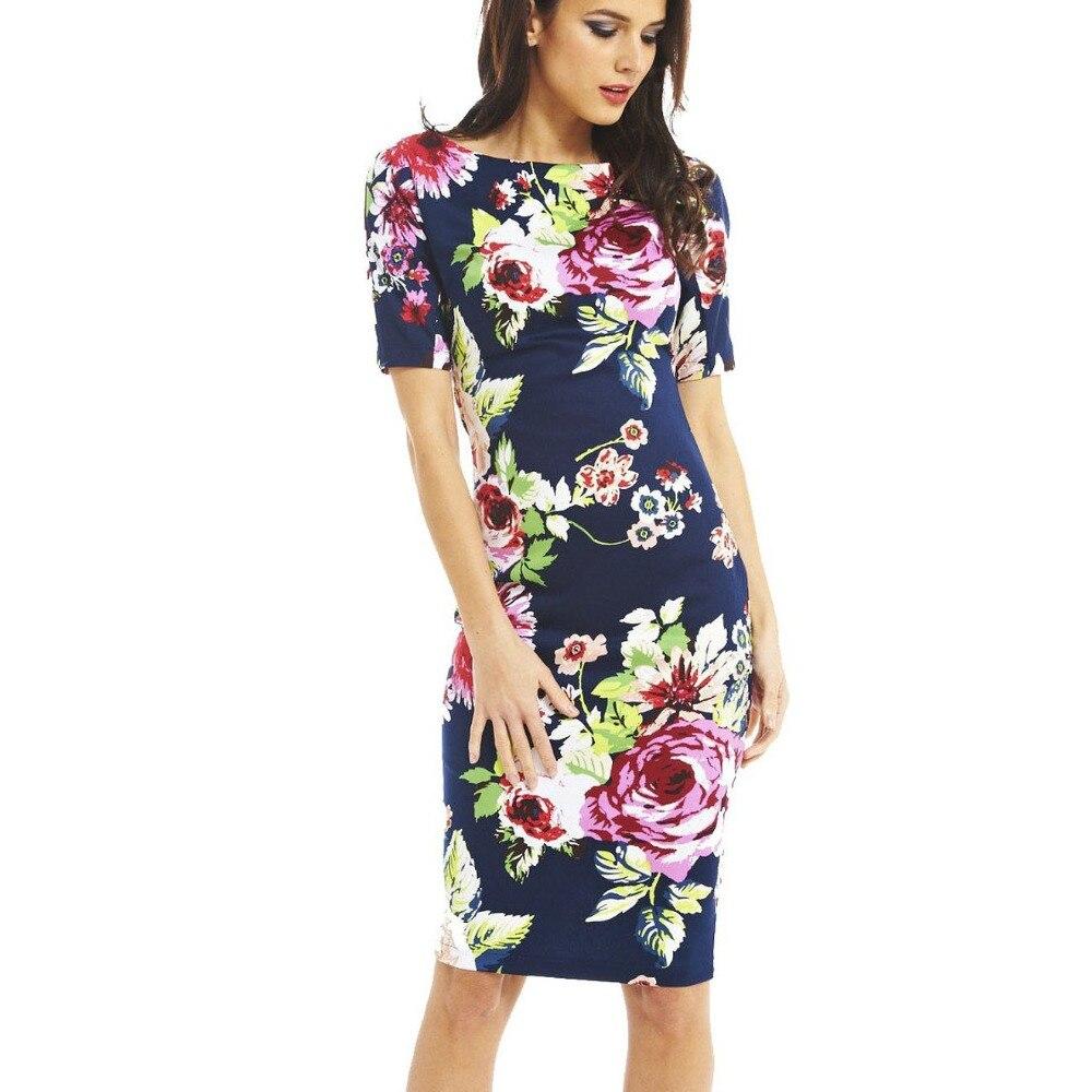 Women Dress Elegant Floral Print Work Business Casual Party Summer Sheath Vestidos 106-12 short dresses office wear