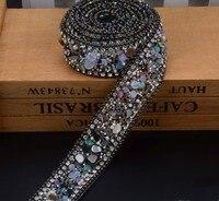 2.5 cm czarny Kryształ wykończenia Dżetów Wedding Bridal Aplikacja Strassu Łańcucha Siatki Krystalicznej łaty dla Odzież Home Decor