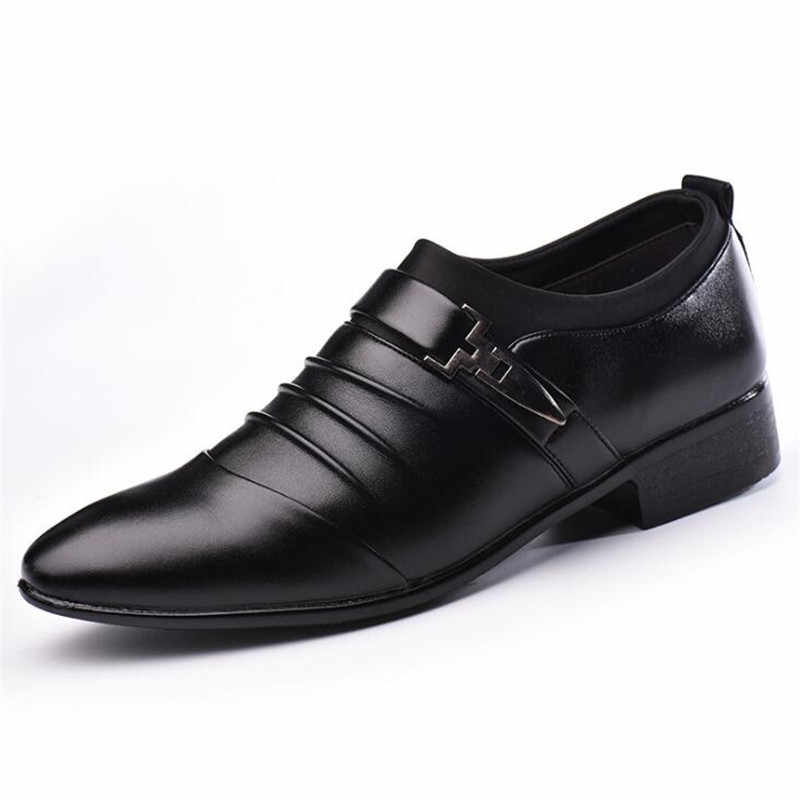 31ffb09b4d9a Summer Men Leather Oxford Flat Classic Formal Shoes Pointed Toe Business  Lace Up Shoes Black Brown