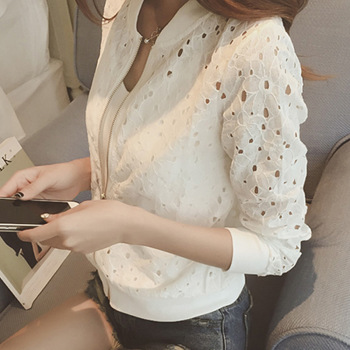 Fashion Hot 2021 New Women Casual Basic Autumn Spring Style Lace Chiffon Jacket Top Zipper Coat Full Sleeve Blusas Hollow out 1