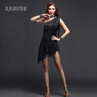 DJGRSTER Latin Dance Dress Girls Salsa Samba Tango Ballroom Competition Costume Tassel Dance Dress And Accessories