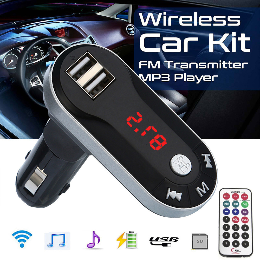 Car Auto Multifunction Wireless FM Transmitter MP3 Player Handsfree Car Kit USB TF SD Remote Vintage Radio H28
