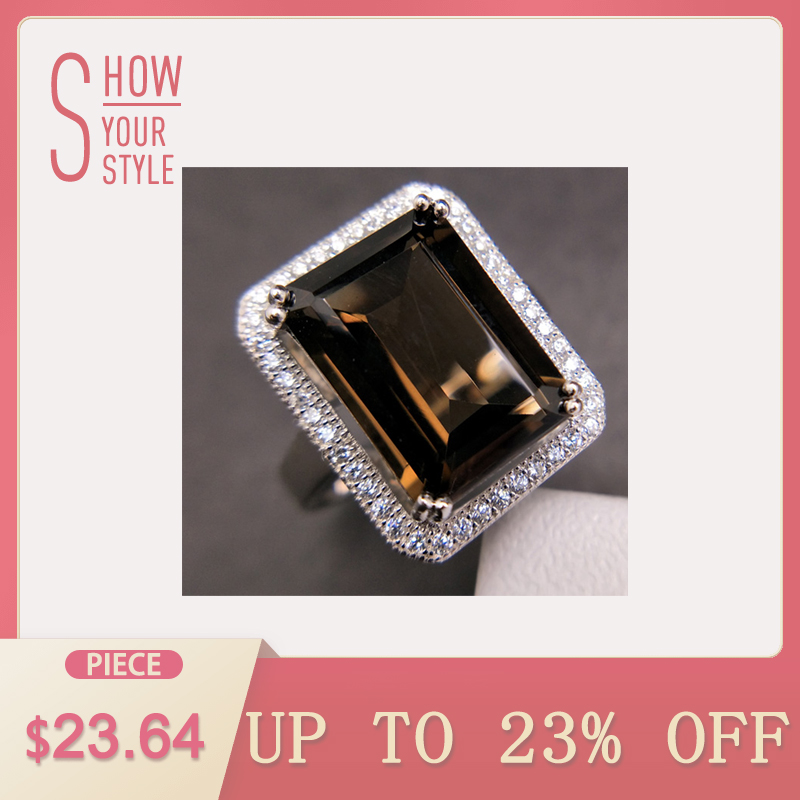TBJ,Classic big size gemstone ring with Natural smoky oct10*14mm in 925 sterling silver sp