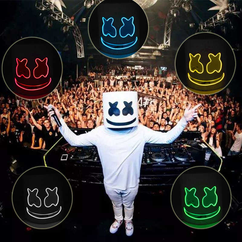 DJ Marshmallow Cosplay Mask LED Luminous Masks Helmet DIY EVA Props Halloween Party Marshmello