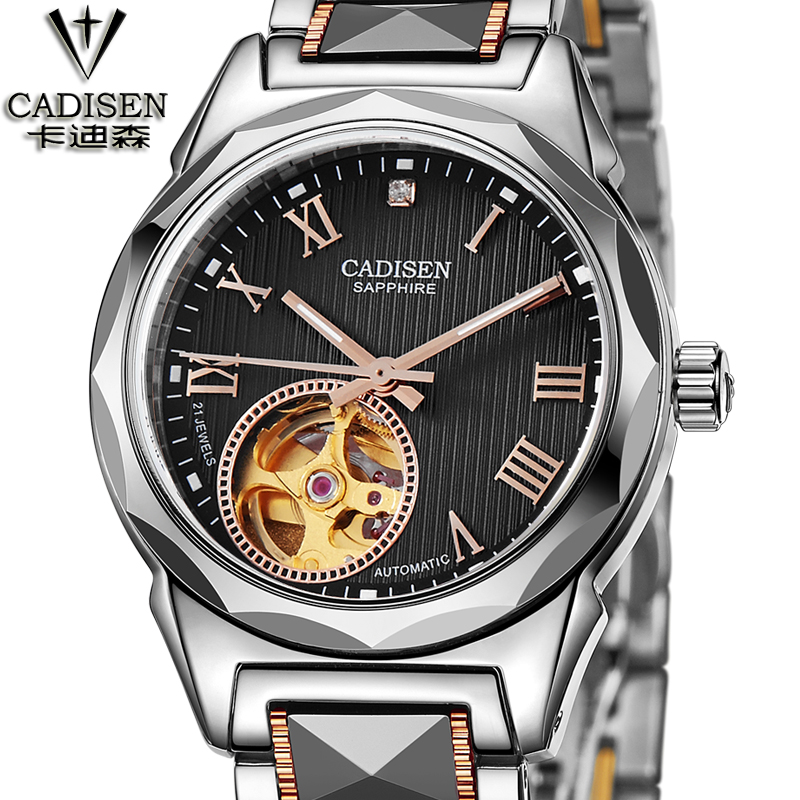CADISEN Brand Casual Watches Tungsten steel Skeleton Female Automatic Mechanical Watch Women Business Formal Watch mechanical watch women cadisen automatic self wind wristwatch casual stainless steel strap skeleton female gift