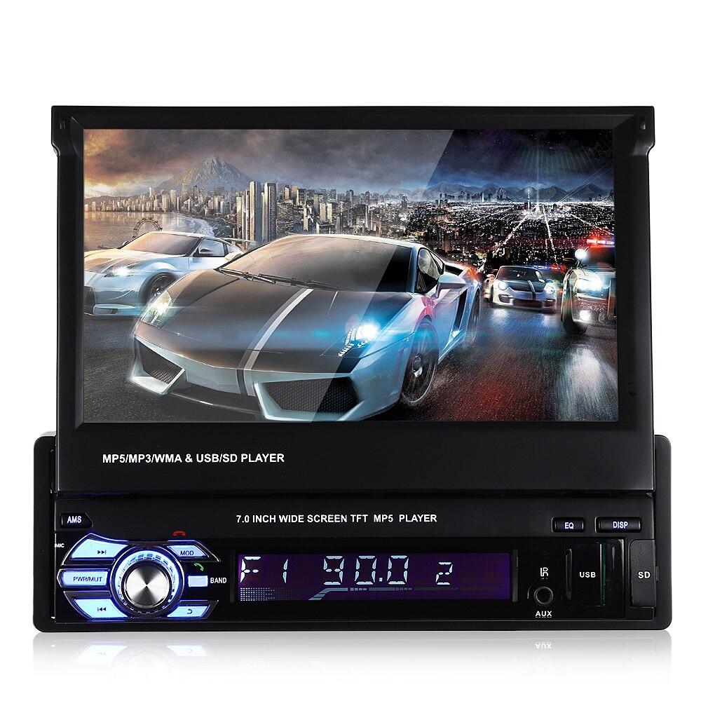 מסך LCD TFT 7.0 inch אוניברסלי 1 דין DVD לרכב מולטימדיה נגן MP5 Bluetooth האוטומטי אודיו סטריאו רדיו FM 12 V הפוכה תמיכה
