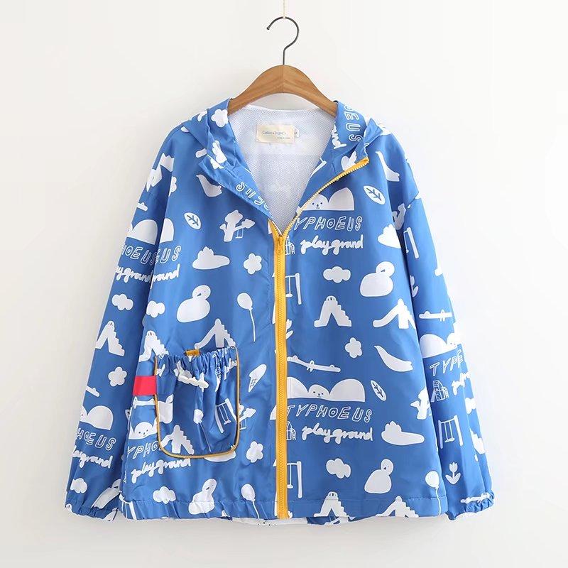 Blue childlike cute student 2018 spring Hooded windbreaker jacket casual coat women