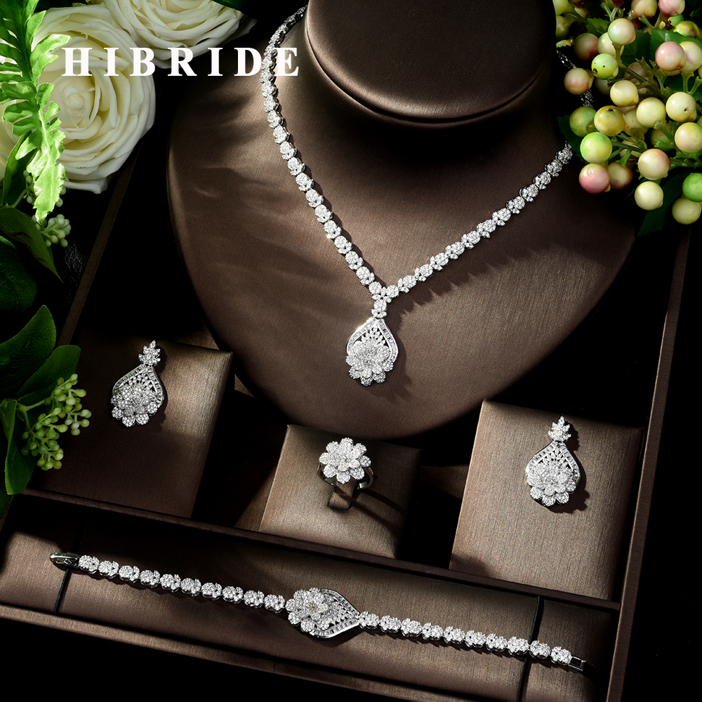 HIBRIDE High Quality 4 Piece Flower African Indian Bridal Wedding Costume Jewelry for Women Luxury Zirconia