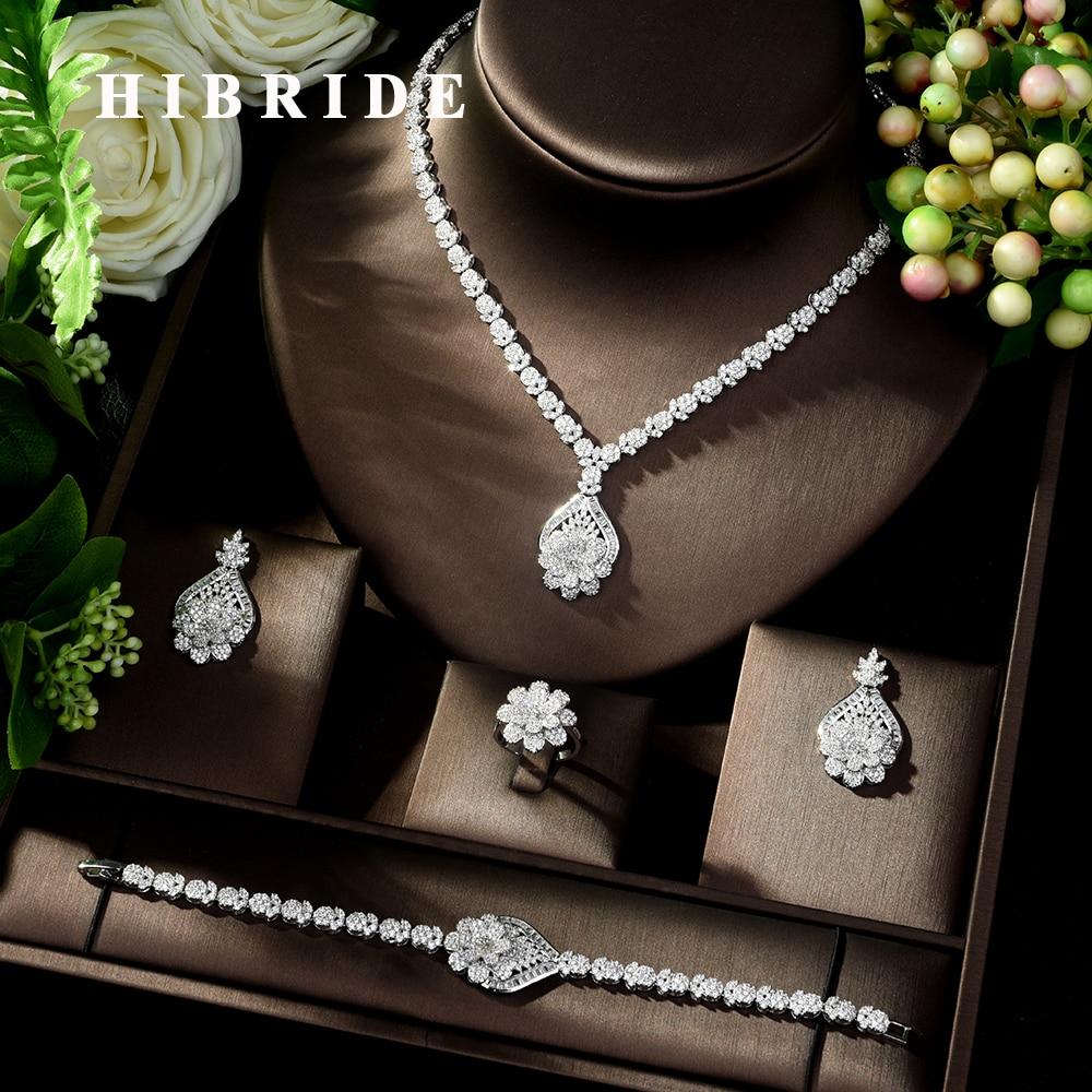 HIBRIDE High Quality 4 Piece Flower African Indian Bridal Wedding Costume Jewelry for Women Luxury Zirconia