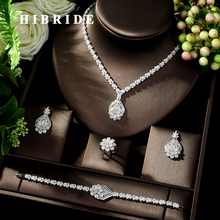 HIBRIDE High Quality 4 Piece Flower African Indian Bridal Wedding Costume Jewelry for Women Luxury Zirconia Jewelry Sets N-148