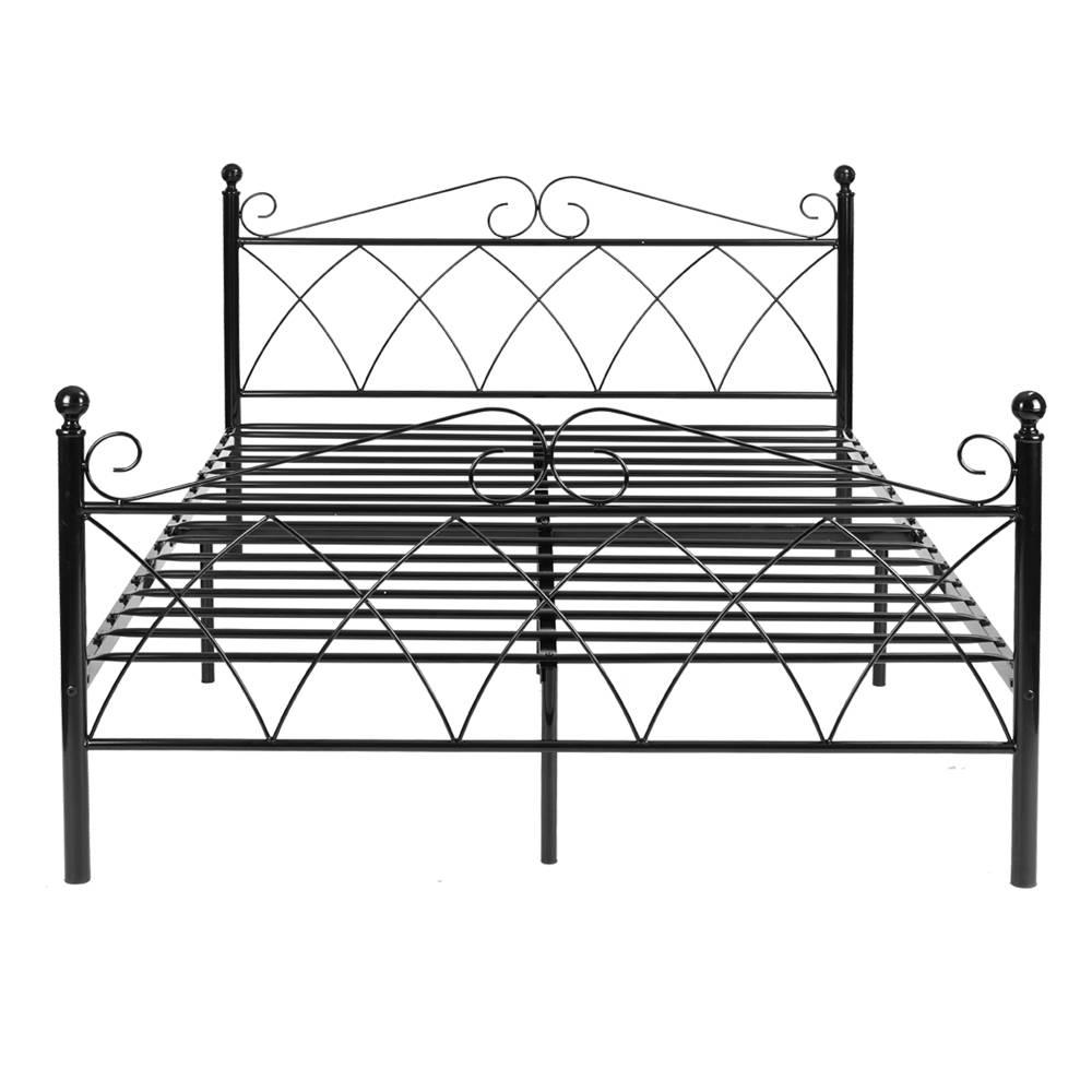 4ft6 Bed Frame Us 179 99 Aingoo Metal Double Bed 4ft 6 Bed Frame Solid Bedstead Base Black Structure Stainless Steel Queen Size Bed Frame Home Furniture In Beds