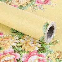 2.5 미터 방수 PVC 자체 접착 비닐 벽 종이 유럽 럭셔리 비닐 벽지 홈 장식 꽃 패턴 벽 스티